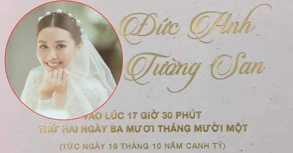 Rò rỉ ảnh thiệp cưới Á hậu Tường San, địa điểm tổ chức hôn lễ cực