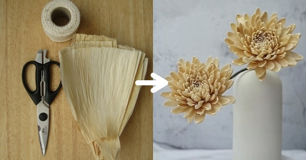 Tự làm hoa cúc siêu dễ bằng lá cây và vỏ ngô, hội chị em có bình hoa trang trí nhà khiến ai cũng khen nức nở