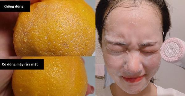 Thí nghiệm làm sạch bong tinh khiết vỏ cam sẽ khiến chị em muốn tậu ngay một chiếc máy rửa mặt để nâng cấp làn da