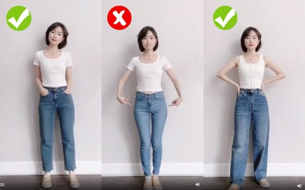 Cô nàng cao 1m60 mách nước chọn quần jeans giúp khắc phục nhược điểm chân cong, hông to