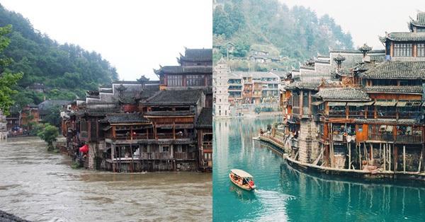 Phượng Hoàng cổ trấn ngập trong biển nước, dân du lịch choáng váng vì thấy không còn địa điểm đẹp như trong mơ