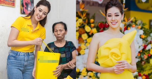 Sáng giản dị đi thăm nạn nhân chất độc da cam, chiều Hoa hậu Khánh Vân