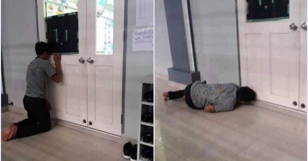 """Ông bố lần đầu đưa con đi học mà """"quỳ, nằm, ngồi"""" để làm điều này khiến ai nấy vừa buồn cười vừa cảm thông"""