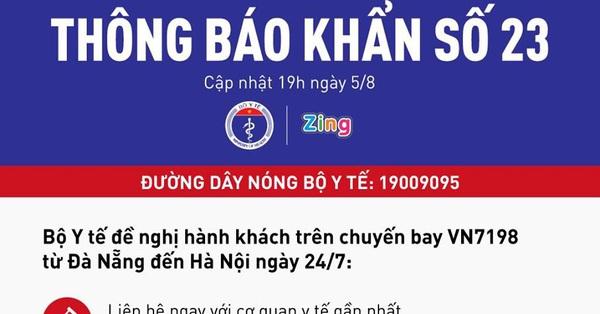 Bộ Y tế ra thông báo khẩn số 23 tìm người trên chuyến bay Đà Nẵng - Hà Nội