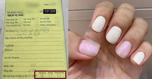 """""""Bóc phốt"""" cửa hàng nail ở Sài Gòn làm vừa đắt vừa kém chất lượng, cô gái không được bênh vực nào ngờ còn bị chỉ trích vì dấu tick trên tờ hóa đơn"""
