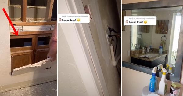 Chuyển đến nhà mới, gia đình phát hiện chiếc gương kỳ quái dính chặt vào tường và quyết gỡ nó ra để rồi biết được thứ rợn người bên trong