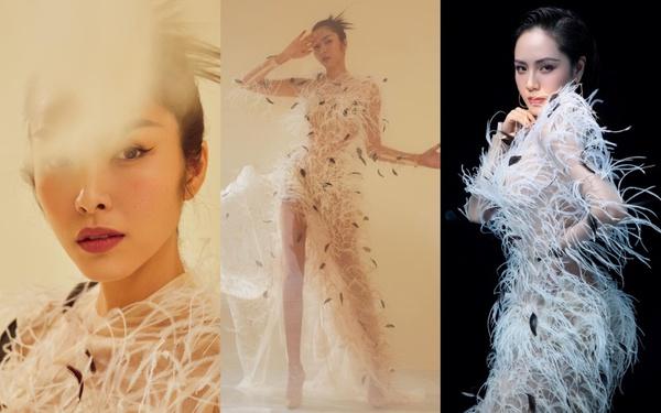 Một chiếc váy 2 số phận: Hà Tăng kiêu sa khoe dáng chuẩn  nữ thần Hy Lạp, Phương Linh ma mị lả lơi như