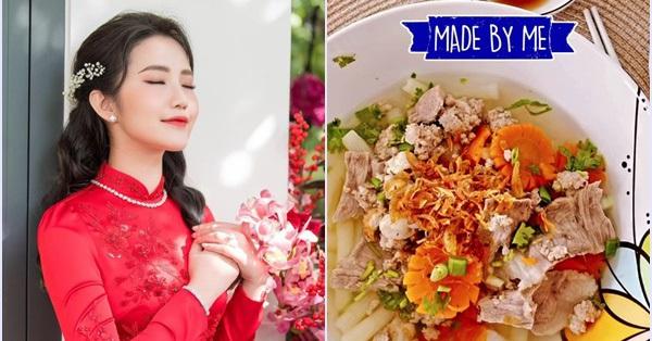 """Bà xã Phan Thành trổ tài nấu món canh nui hậu Tết, nhưng nhìn kỹ món cà rốt tỉa hoa khiến hội chị em tranh cãi """"liệu có cầu kỳ quá không?"""""""