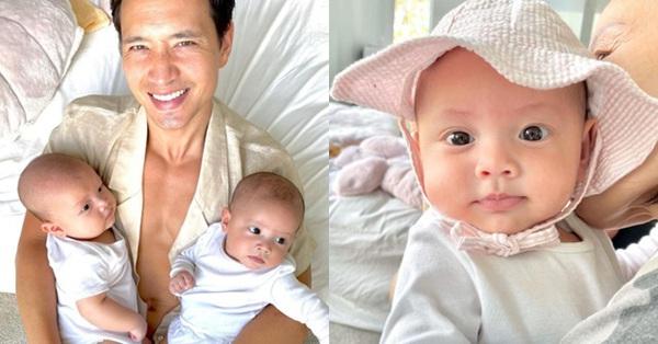 Hình ảnh vô cùng đáng yêu của Kim Lý và cặp song sinh Lisa - Leon khi chuẩn bị đi chơi