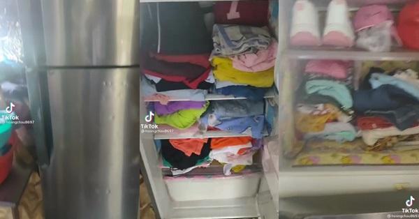 Mở tủ lạnh nhà bạn thân, cô gái cười sằng sặc khi nhìn thấy quần áo chất kín tủ, song dân tình lại khẳng định: Tiết kiệm thôi mà!