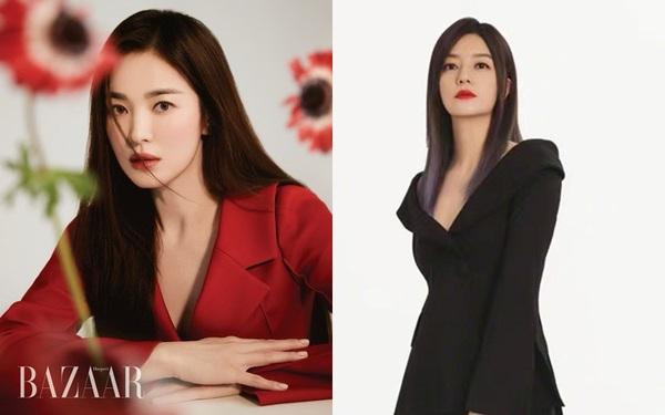 Diện kiểu áo na ná, Triệu Vy trễ nải gợi cảm, Song Hye Kyo