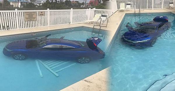 2 bố con ngồi trên xe thì phương tiện lao xuống hồ bơi, người trong cuộc mếu máo còn dân mạng cười ngặt nghẽo khi biết sự tình: Tất cả là tại mẹ!