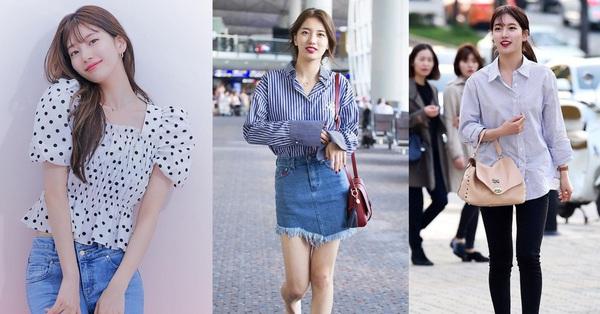 Suzy toàn diện áo sơ mi/blouse theo cách siêu đơn giản nhưng xinh hết cỡ, chị em học theo là