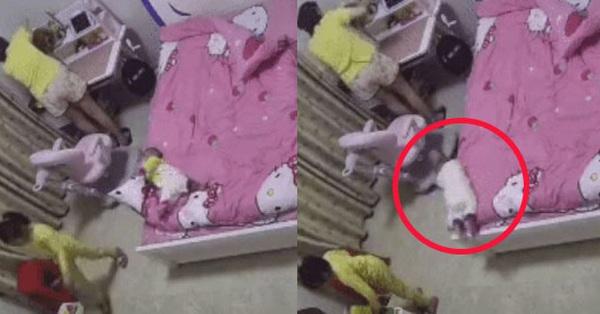 Thót tim xem clip bé sơ sinh bị ngã từ trên giường xuống đất, nhưng bố mẹ đừng vì thương quá mà bế con lên ngay lập tức