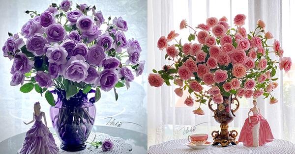 Mẹ đảm Quảng Ninh trổ tài cắm 10 loài hoa hồng ngoại, bình nào cũng lạ mắt đẹp như tranh vẽ