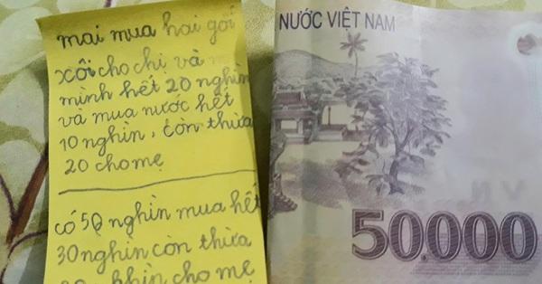 Tờ 50 ngàn đồng cùng vài dòng ghi chú của cậu bé tiểu học nhận về 15 ngàn lượt thích: Em nhà người ta quả không bao giờ làm mình thất vọng
