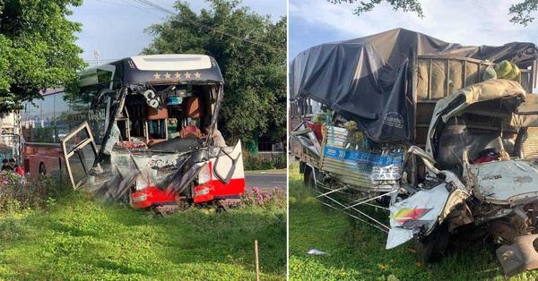 Ám ảnh hiện trường kinh hoàng vụ xe khách đấu đầu xe tải khiến vợ chết, chồng và con bị thương nặng