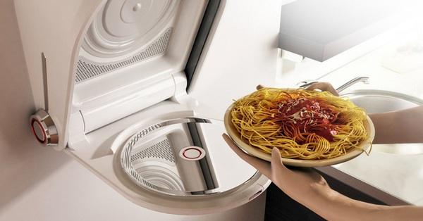Lò vi sóng âm tường giúp phòng bếp nhỏ hẹp không phải tốn 1cm nào để lưu trữ