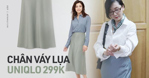 Sắm chân váy lụa Uniqlo 299k: Váy ôm nhưng không hề lộ bụng, mix kiểu nào cũng chuẩn style Pháp