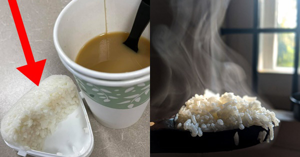 Cô gái đổ ụp bát cơm vào cốc cà phê, ngỡ là hành động