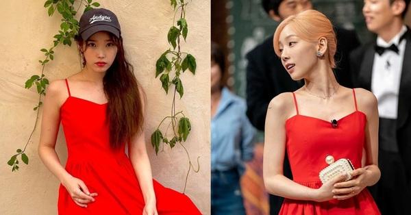 IU đụng hàng với Taeyeon nhưng không sang chảnh bằng vì kiểu tóc lạc quẻ
