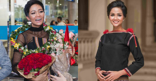 Không diện váy áo lộng lẫy, Hoa hậu H'Hen Niê vẫn đẹp rạng ngời khi khoác lên mình trang phục dân tộc Ê đê
