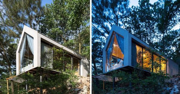Ngôi nhà 36m² lơ lửng, cheo leo trên đồi thông vô cùng ấn tượng ở Sóc Sơn, Hà Nội