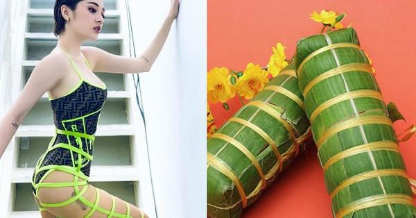Hơn 3 tháng nữa mới đến Tết nhưng Bảo Anh đã lên đồ cosplay đòn bánh tét rồi