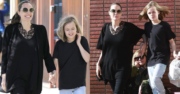 Bị đồn suy sụp vì Brad Pitt hẹn hò đối thủ, Angelina lại xuất hiện bên con với biểu cảm ''một trời một vực''