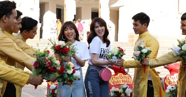 Ngọc Trinh - Diệu Nhi ''đại náo'' đường phố cùng đoàn rước dâu hoành tráng