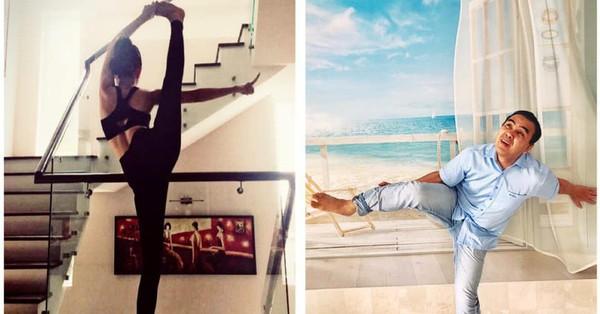 MC Quyền Linh nhận ''kết đắng'' khi bắt chước những tư thế yoga ''khó nhằn'' của bà xã