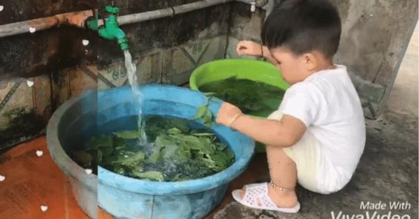 Cậu bé 2 tuổi gây sốt vì rửa rau, quét nhà thành thục, nghe bí kíp dạy con của mẹ trẻ ai nấy càng thêm giật mình