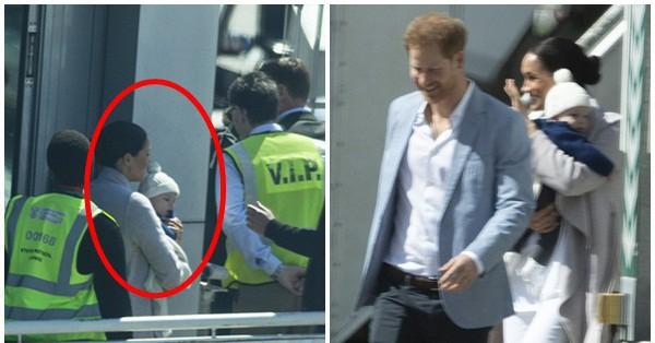 Meghan Markle bế con trai xuất hiện tại sân bay, bắt đầu chuyến công du, ''ghi điểm'' tuyệt đối nhờ hành động tinh tế