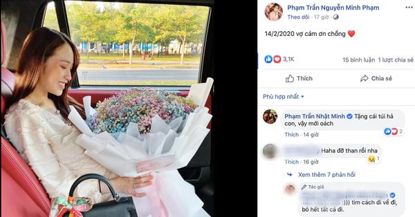 """Con gái đại gia Minh Nhựa khoe được chồng tặng quà ngày Valentine nhưng bố vợ lại vào bình luận """"chặt"""" một câu siêu hài"""