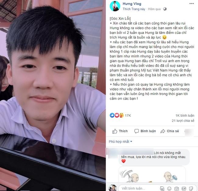 """2 lần bị xử phạt vì video phản cảm, kênh Hưng Troll bất ngờ """"bốc hơi"""", Hưng Vlog cũng có hành động bất ngờ trên fanpage của mình - Ảnh 3."""