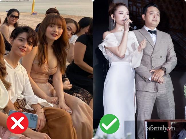 """2 lần Minh Hằng diện váy phô diễn vòng 1 khi đi đám cưới: Bộ váy diện tại lễ cưới Đông Nhi tưởng đâu nền nã hóa ra cũng nhiều phen """"hú hồn"""" - Ảnh 5."""