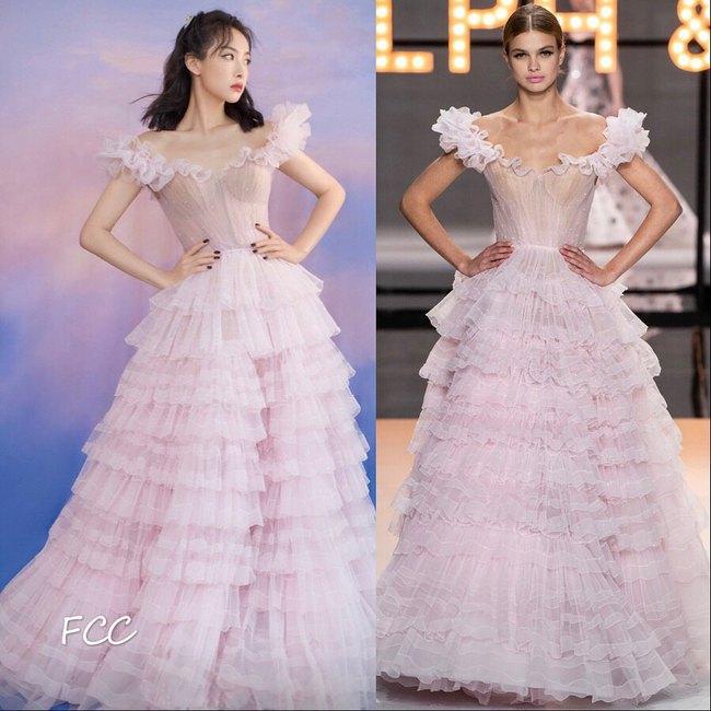 Nữ thần Kim Ưng Tống Thiến cùng chọn thương hiệu váy giống Phạm Băng Băng: Người xinh như tiên tử, người mặc lên nhìn như hàng chợ  - Ảnh 5.