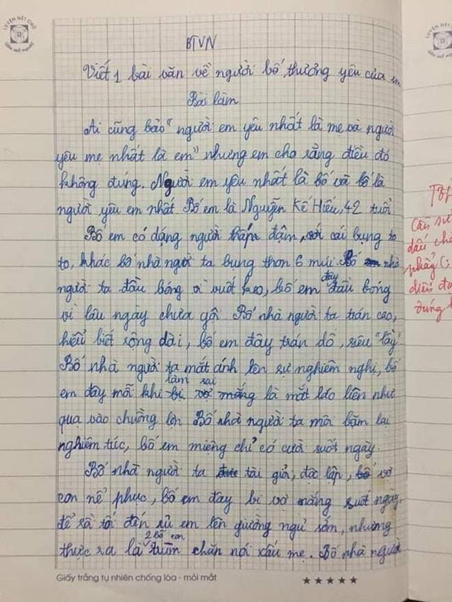 """Bài văn tả bố """"xấu hết phần thiên hạ"""" của cô bé Nghệ An khiến dân mạng vô cùng thích thú, vì tình cảm cha con phải vô cùng đặc biệt mới viết lên câu chuyện hay đến vậy - Ảnh 1."""