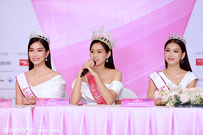 Hoa hậu Việt Nam 2020 lần đầu xuất hiện trước truyền thông: Đỗ Thị Hà đáp trả nghi vấn biết trước kết quả, Á hậu 2 nói về việc từng diễn trong show nội y của Vũ Khắc Tiệp - Ảnh 3.