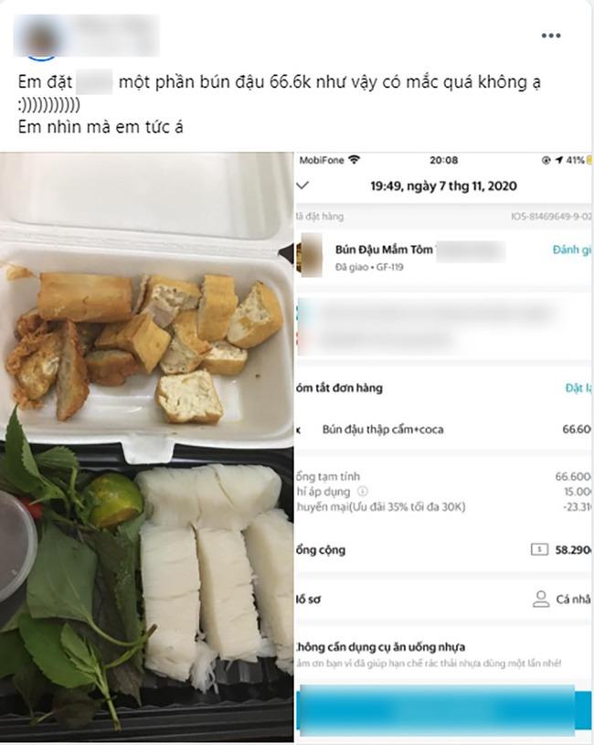 Đặt mua suất bún đậu hơn 60k rồi hồi hộp chờ đợi, cô gái không ngờ nhận được phần ăn trông lèo tèo hết sức - Ảnh 1.