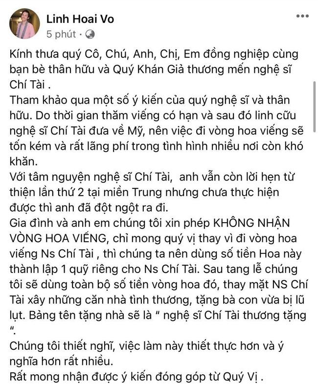 Nghệ sĩ Hoài Linh chính thức thông báo: Không nhận vòng hoa viếng, sẽ lập quỹ từ thiện mang tên cố nghệ sĩ Chí Tài - Ảnh 1.
