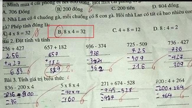 """Bài toán """"Hỏi nhà Lan có tất cả bao nhiêu con gà"""", học sinh tiểu học làm 4x8, giáo viên gạch đi, chọn đáp án 8x4, hội phụ huynh tranh cãi dữ dội - Ảnh 1."""