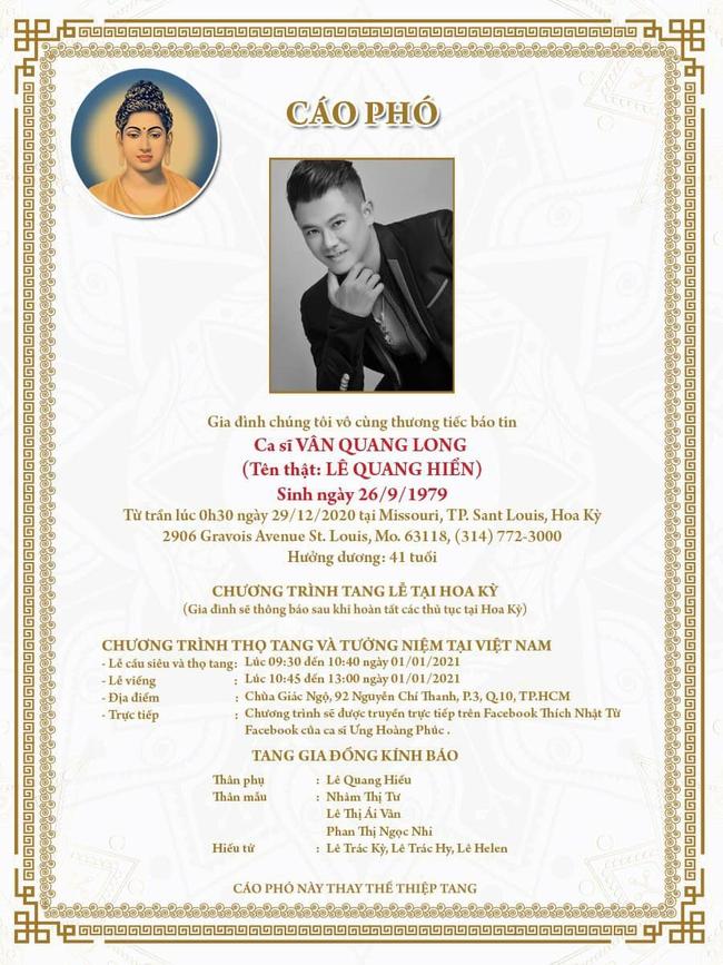 Cáo phó và thông tin chính thức về tang lễ ca sĩ Vân Quang Long - Ảnh 2.