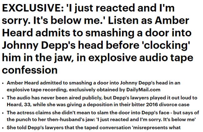 Amber Heard thừa nhận việc bạo hành Johnny Depp khi đập cả cánh cửa vào đầu khiến nam tài tử gục ngã - Ảnh 2.