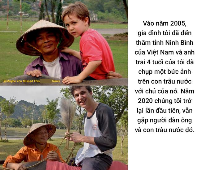 Bức ảnh cậu bé ngoại quốc tìm về người đàn ông chăn châu ở Ninh Bình sau 15 năm từng gặp mặt khiến dân mạng bồi hồi: Thời gian vô tình quá, ai rồi cũng già đi và lớn lên  - Ảnh 1.