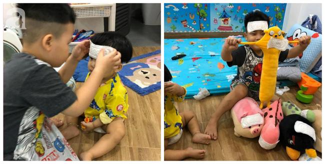 Thay mẹ trông em, bé trai 4 tuổi vào vai siêu nhân chữa vết thương cho em trai và thú cưng bằng băng vệ sinh hàng ngày của mẹ - Ảnh 2.