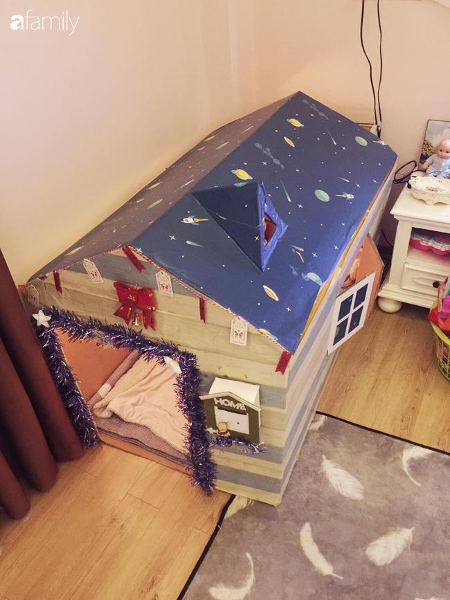 Mẹ Hà Nội tự làm cho con ngôi nhà bằng bìa các tông xinh như trong truyện tranh mà chỉ tốn hơn 100 nghìn đồng - Ảnh 1.