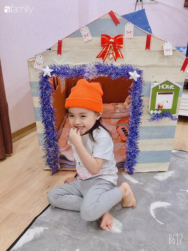 Mẹ Hà Nội tự làm cho con ngôi nhà bằng bìa các tông xinh như trong truyện tranh mà chỉ tốn hơn 100 nghìn đồng - Ảnh 5.