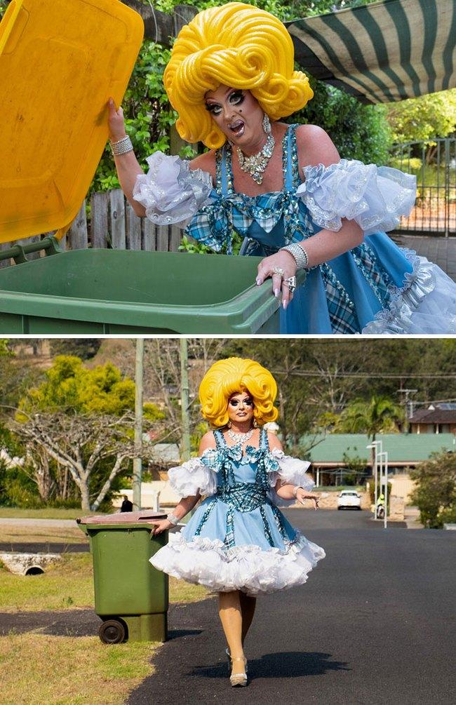 Phải ở nhà né dịch, dân Úc tranh thủ mở show diễn thời trang khi ra ngoài đổ rác - Ảnh 7.