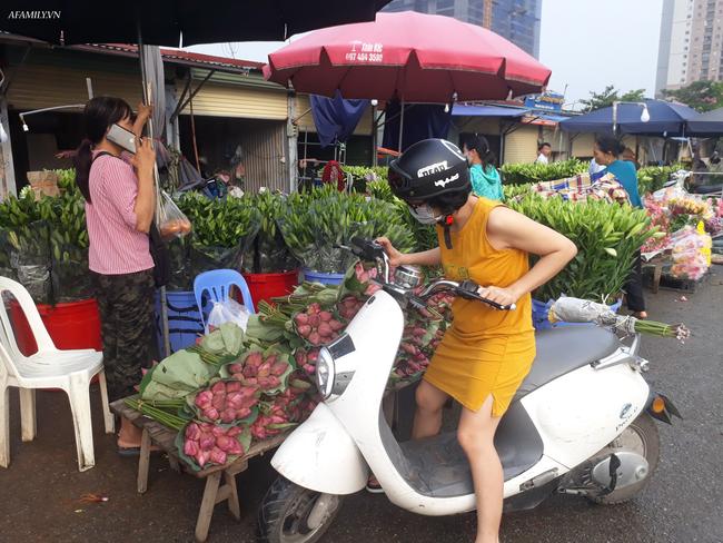 Tháng 5, sen hồng, sen trắng đầu mùa bán đầy các chợ, giá chỉ 30-120 ngàn đồng/bó, bà nội trợ thi nhau mua về cắm vì vẻ đẹp tao nhã - Ảnh 2.